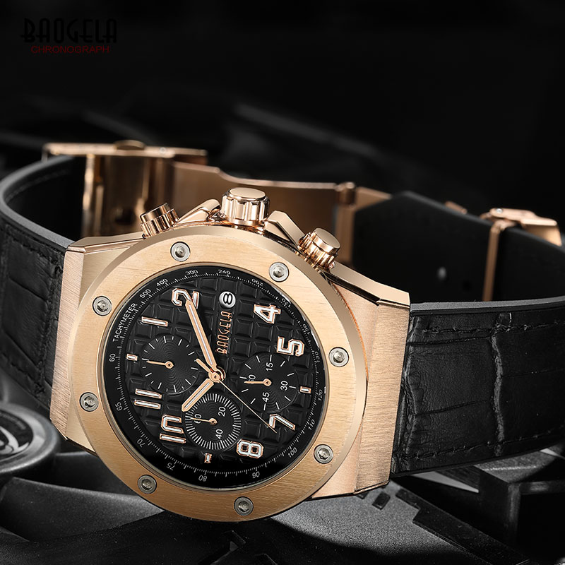 Image 4 - BAOGELA Men's Chronograph Quartz Watches 2019 New Waterproof Sports Casual Wrist Watch Man Leather Strap Clock 1805 Rose black-in Quartz Watches from Watches