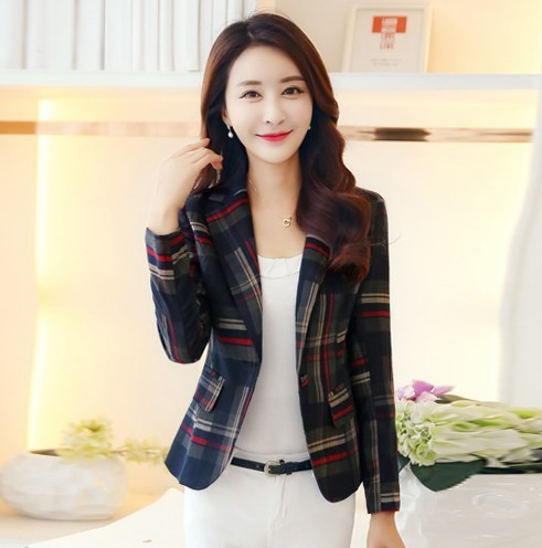 2018 womens fashion clothing short jacket female office ladies slim-fit blazer suit women blue red plaid casual blazer feminino