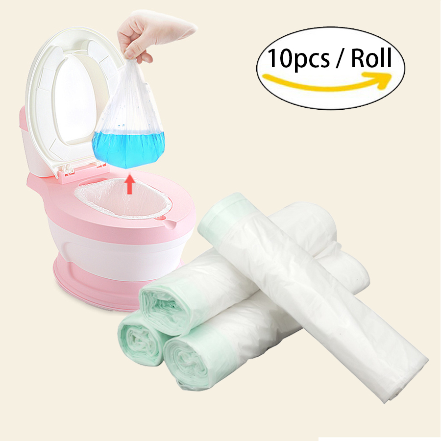 10pcs/roll Universal Potty Training Toilet Seat Bin Bags Travel Potty Liner Disposable with Drawstring Easy Convenient Baby Care | Happy Baby Mama