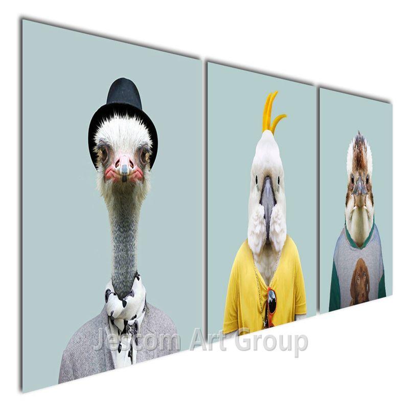 3 pezziset animali uccelli pittura di struzzo pappagallo e laquila stampe su