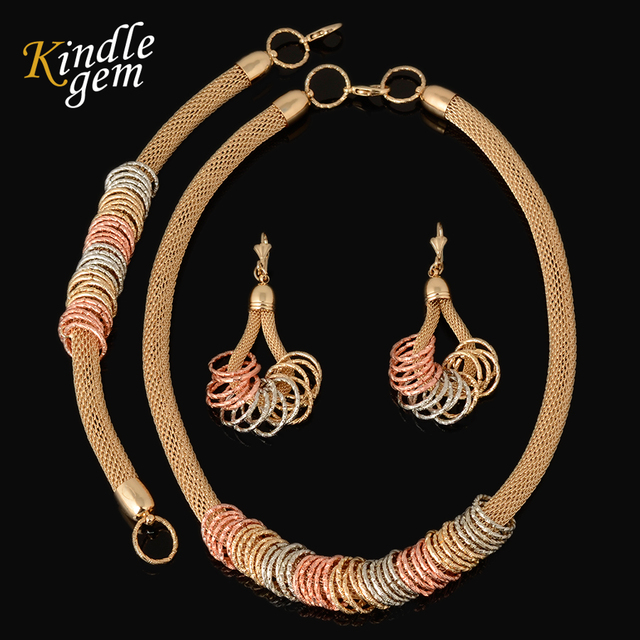 2017 New Fashion 3 Color Ladies Choker Necklace Set Rose Silver Gold