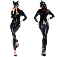 Adult Costume Cat Women Leather Jumpsuit Sexy Catwoman atsuit Black Cat Halloween Costume Sexy women lingerie