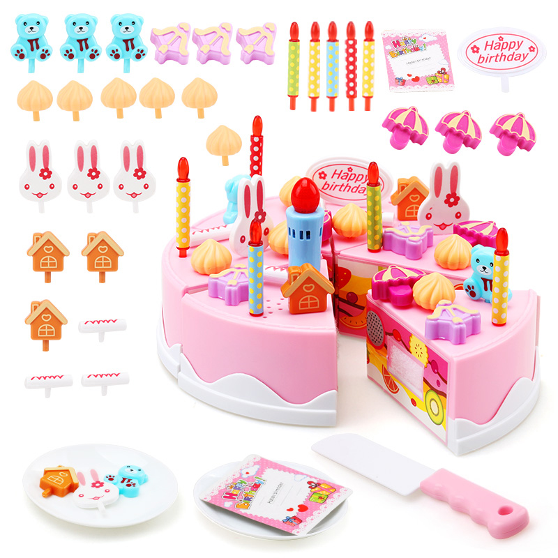 Childrens Toys House Simulation Birthday Cake DIY Fruit Cut Multi Piece Can Blow Out Candles With Music