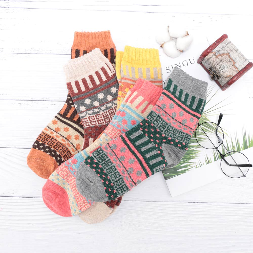 1Pair Women Ladies Girls Thick Winter Socks Warm Wool Ethnic Style Socks