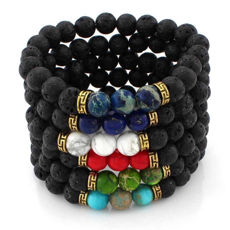 2018 New Products Wholesale Lava Stone Beads Natural Stone Bracelet Men Jewelry Stretch Yoga Bracelet For Women