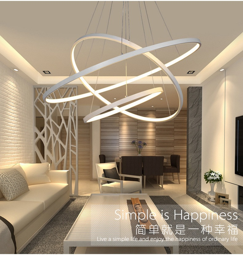 1/2/3 Circle Rings Modern pendant lights for living room dining Bed Room Lampar acrylic aluminum body LED Pendant Lamp fixtures modern led pendant lights for living room 3 2 1 circle rings acrylic aluminum body pendant lamp hanglamp lamparas colgantes