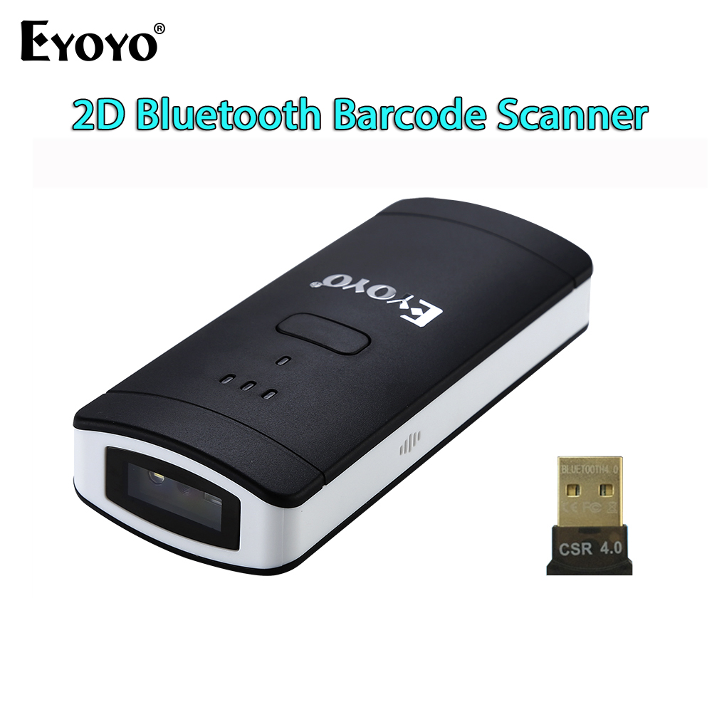 EYOYO EY-002S Wireless Bluetooth 2D Barcode Scanner PDF417 DataMatrix QR Code Reader For Andriod IOS Pocket Mini 2D Scanner blueskysea yk wm3l 433mhz pdf417 datamatrix qr code reader 2d high speed wireless 1d 2d barcode scanner for windows mac ios