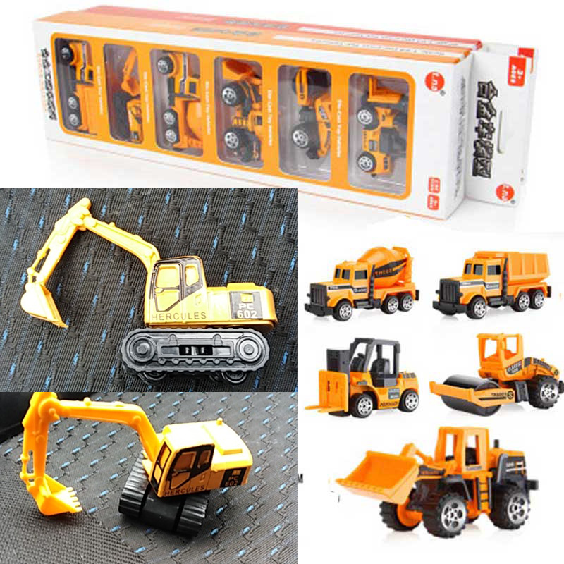 6PCS/Set Baby Engineering Cars Toy Boys Girls Imitation Inertial Engineering Car Children Toy Alloy Excavator Gift 2018 New Toy