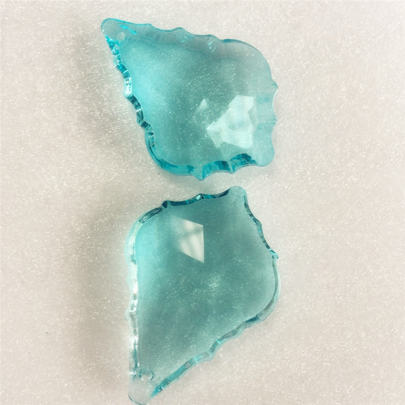 50mm aquamarine Color 40 units Pendant Glass Crystal Maple Chandelier Prisms Parts Lighting Suncatcher Pendants for Decoration