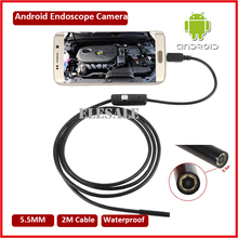 5.5mm 2M Cable Waterproof Endoscope Camera Module 6LED OTG USB Android Endoscope Inspection Underwater Fishing For Windows PC