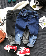 Retail 1pc 2017 New Spring Boys And Girls Hole Jeans Kids Long Denim Pants