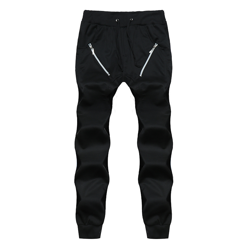 Casual Pants Joggers Zipper-Trousers Harlan Summer Multi-Pocket Male Solid Drawstring