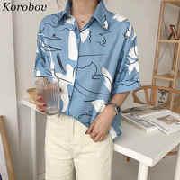 Korobov Harajuku Druck Bluse Koreanische Kausalen Shirt 2019 Sommer Kurzarm drehen-unten Kragen Shirts Frau Blusas Tops 35794