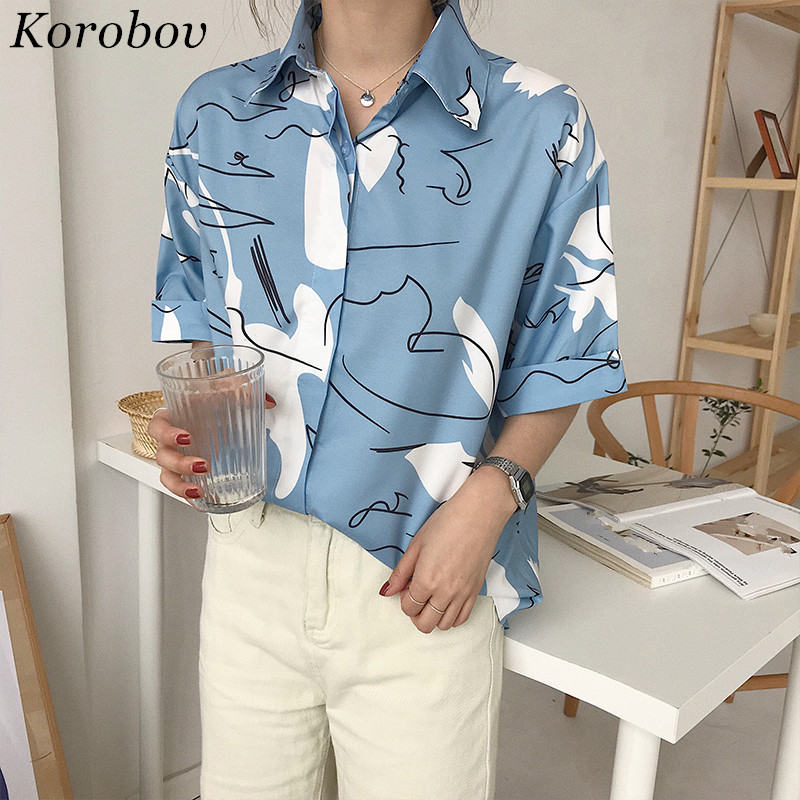 Korobov Harajuku Printing Blouse Korean Causal Shirt 2019 Summer Short Sleeve Turn-down Collar Shirts Woman Blusas Tops 35794