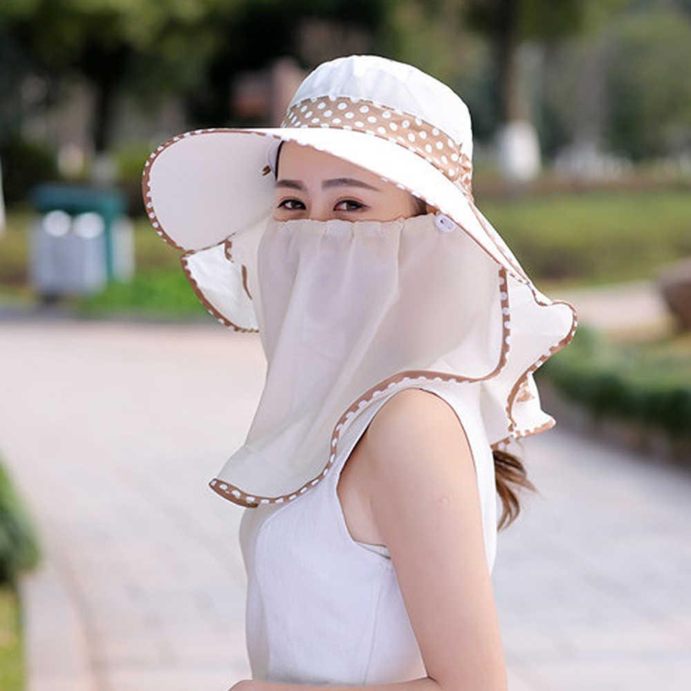 Lato składany kapelusze letnie dla kobiet Dot anty UV Sunhat osłona twarzy, szyi szal poliester kobiety na co dzień Sunhat