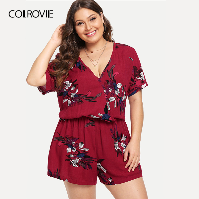 COLROVIE Plus Size Burgundy V Neck Floral Print Wrap Beach Romper Women 2019 Summer Short Sleeve Vacation Short   Jumpsuits