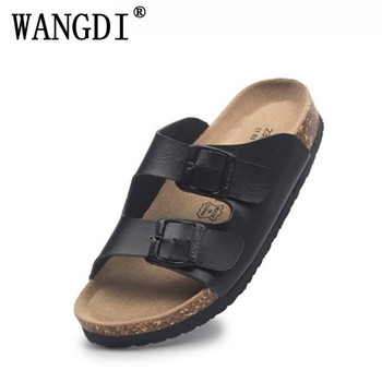 2019 nouveau été plage liège pantoufles sandales décontracté Double boucle sabots Sandalias femmes hommes sans lacet tongs chaussures plates