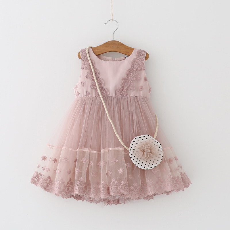 2017 Kids Girls Embroidery Dress Children Girl Sleeveless Birthday Party Dress Baby Princess Clothes with small wallet pink baby girls dress 2016 brand new girls princess dress children s birthday party sequined dress pink tutu kids free shipping