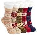 Calcetines de navidad Muchachas de Las Mujeres de Moda de Invierno de Conejo de Lana de Cachemira Grueso 3d Ciervos Damas Mujer Calcetines Lindos Hembra Termal Caliente regalo