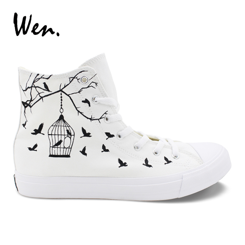 Wen Canvas Casual Flats White Women Design Bird Cage Hand Painted Shoes Custom Strappy High Top Men Sneakers Outdoor Espadrilles wen blue hand painted shoes design custom shark in blue sea high top men women s canvas sneakers for birthday gifts