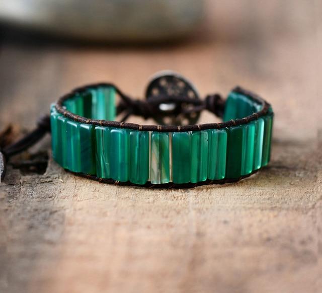 US $7 14 9% OFF|Womens Boho Bracelets Tube Shape Green Onyx Single Leather  Wrap Bracelet Semi Precious Stone Beaded Beadwork Bracelet Dropship-in