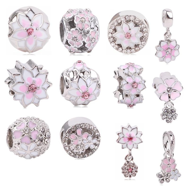 Couqcy Fashion Flower Silver European CZ Charm Beads Fit Pandora Charm Bracelet Pendant Necklace DIY Jewelry Originals