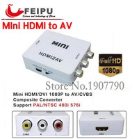 Standard HDMI Interface Mini HD Video Converter Box HD To AV CVSB Video NTSC PAL Output
