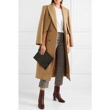 Британский бренд, новая мода, женское осеннее/зимнее пальто, верблюжье, Простое Шерстяное Пальто с воротником, длинное пальто, тонкое, Casacos femininos