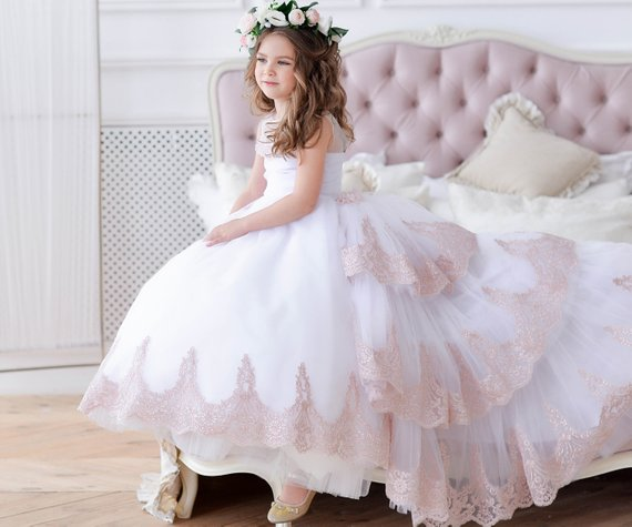 White   Flower     Girl     Dress   with train Lace Layered Junior First Communion   Dresses   ball gown Pageant Party Birthday Gown