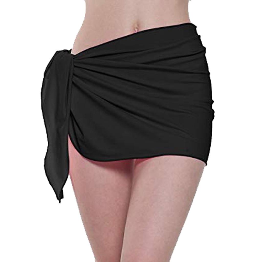 2019 Women Solid Summer Chiffon Beach Dress Wrap Bikini Cover Up Swimwear Sexy Short Beach Tunics Pareo Swimsuit Kaftan Beach