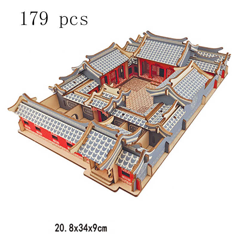 Wooden Toys Building Blocks Magnetic Constructor China Chinese Architecture House Building Bricks Technic Toy For Children Adult