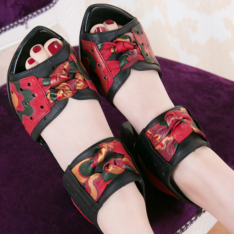 Genuine Leather Sandals Coarse Flower Hollow Women's Shoes