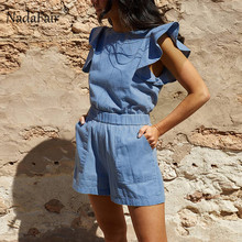 Nadafair ruffles denim playsuits women for 2019 summer o neck pockets elastic waist slim casual denim