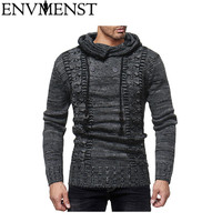 2018 New Style Autumn Fashion Casual Thick Sweater O Neck Deer Printed Slim Fit Knitting Men Pullover Hooded Sweaters