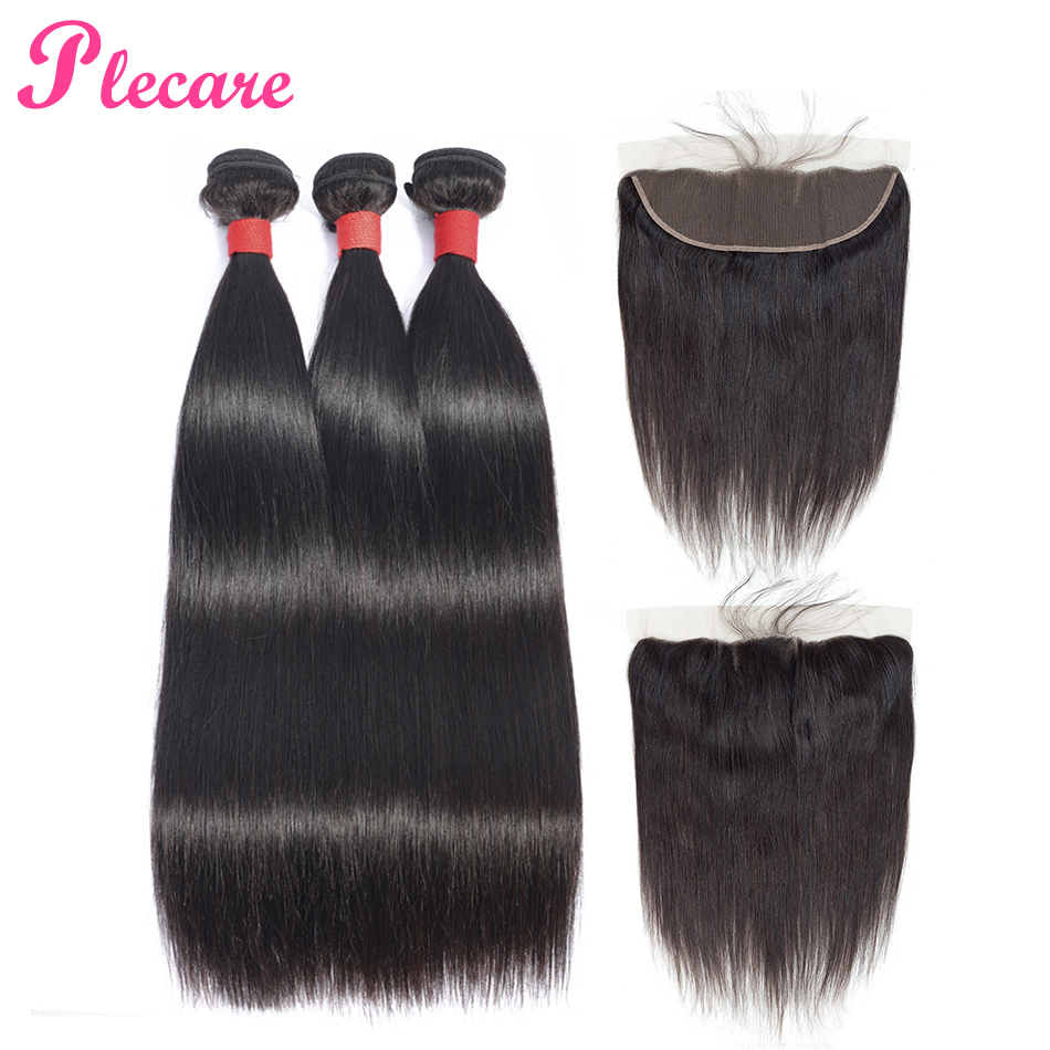 Plecare 100 Human Hair Weave Bundles With Frontal Straight Malaysian Hair 3 Bundles With Closure Natural