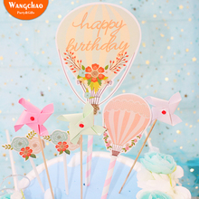 7PCS/LOT  Hot Air Balloon Flower Flag Ice Cream Happy Birthday Party Decorations Kids Cake Topper Decor Cupcake Baby Shower