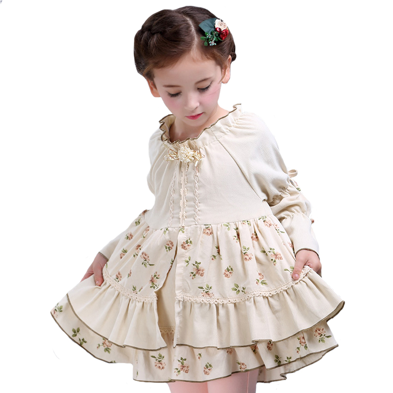 Autumn a line Girls dress kid Cotton princess Robe children Retro Tiered long sleeved ball gown Party clothing For Baby 4Y 10Y