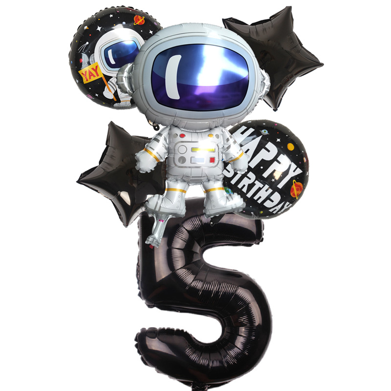 6pcs set Cartoon Spaceman Foil Balloon 32inch Gold Black Number Balloon Spaceman Balloon Birthday Party Decoration Kid 39 s Toy Gif in Ballons amp Accessories from Home amp Garden