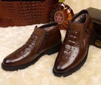 Autumn winter men's European American Crocodile patternMartin boots Genuine leather Plus velvet Keep warm boots zip Buckle boots