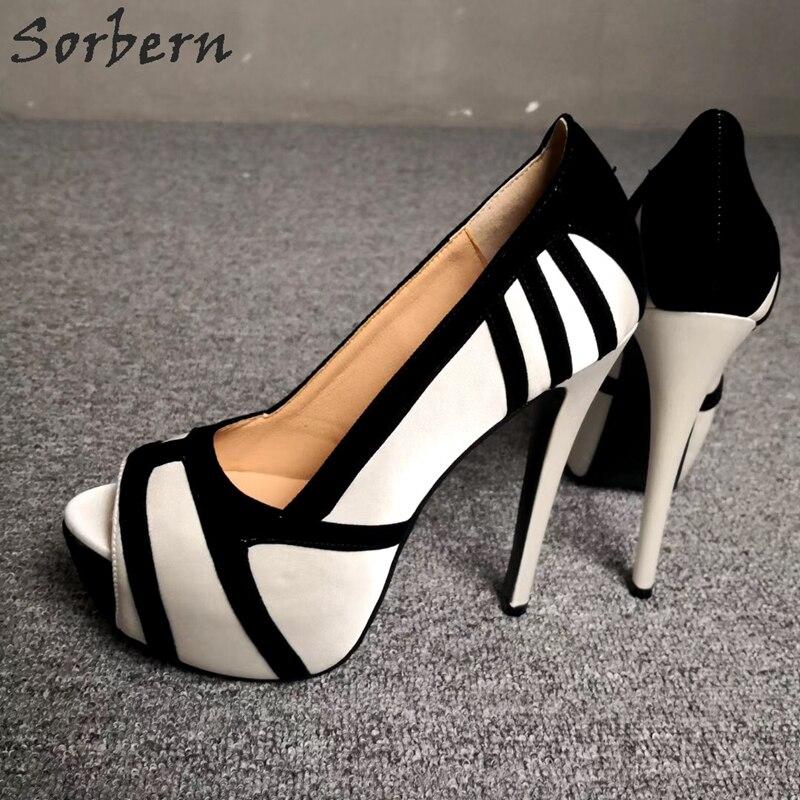 Sorbern/женские туфли с открытым носком на высоком каблуке; белые туфли на платформе без застежки; пикантные туфли лодочки на шпильке по индивидуальному заказу; Размеры 6