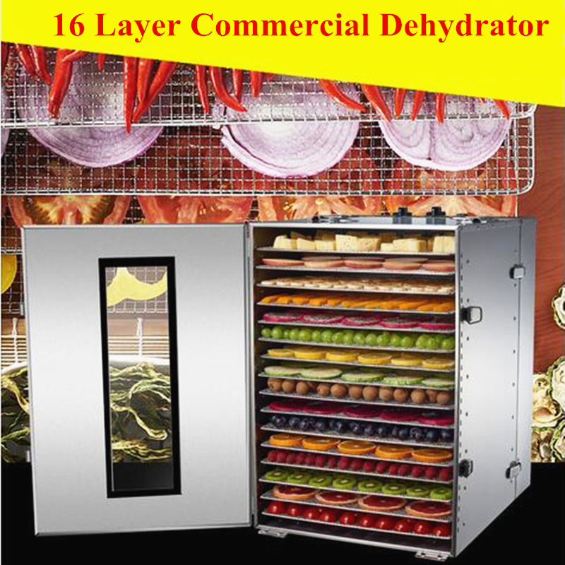 Commercial 16 Layers Dried Fruit Machine Fruit Vegetable Dehydration Food Air Dryer Pet Food Dryer Home Health Efficient free shipping home food fruit dryer fruit and vegetable pet meat air dried dehydration machine commercial 15 layers dehydrator