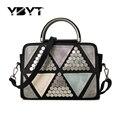 YBYT brand 2017 new patchwork casual rivet totes women shopping handbags hotsale joker ladies shoulder messenger crossbody bags
