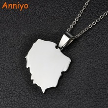Anniyo 316 Stainless Steel Polska Map Pendant Necklaces for Women Jewelry Maps of Poland Chain #021221B(China)