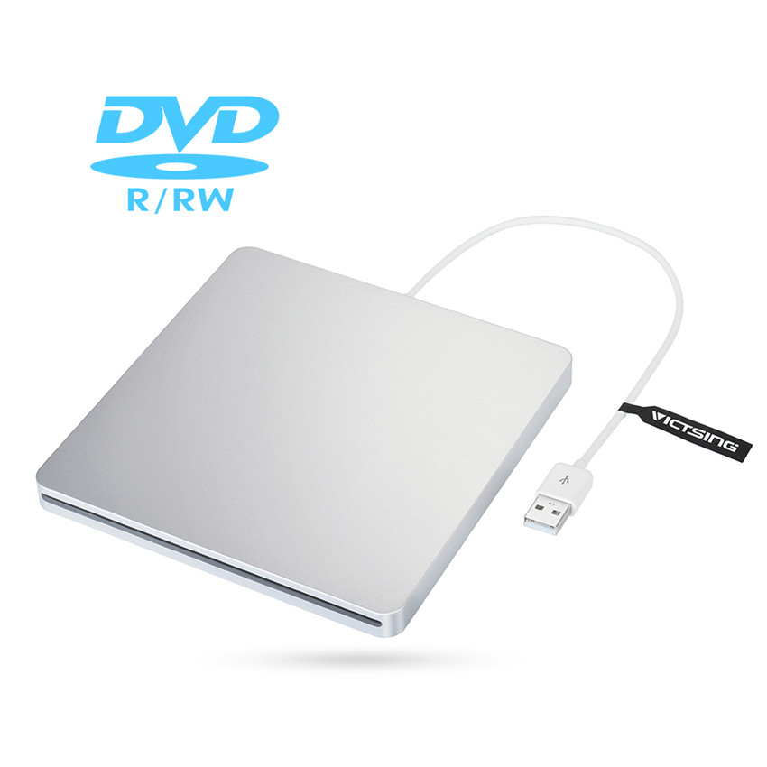 VICTSING New thin cd dvd rw drive USB2 External DVD/CD VCD player Optical Drive Burner for Apple Macbook iMac Laptop Desktops