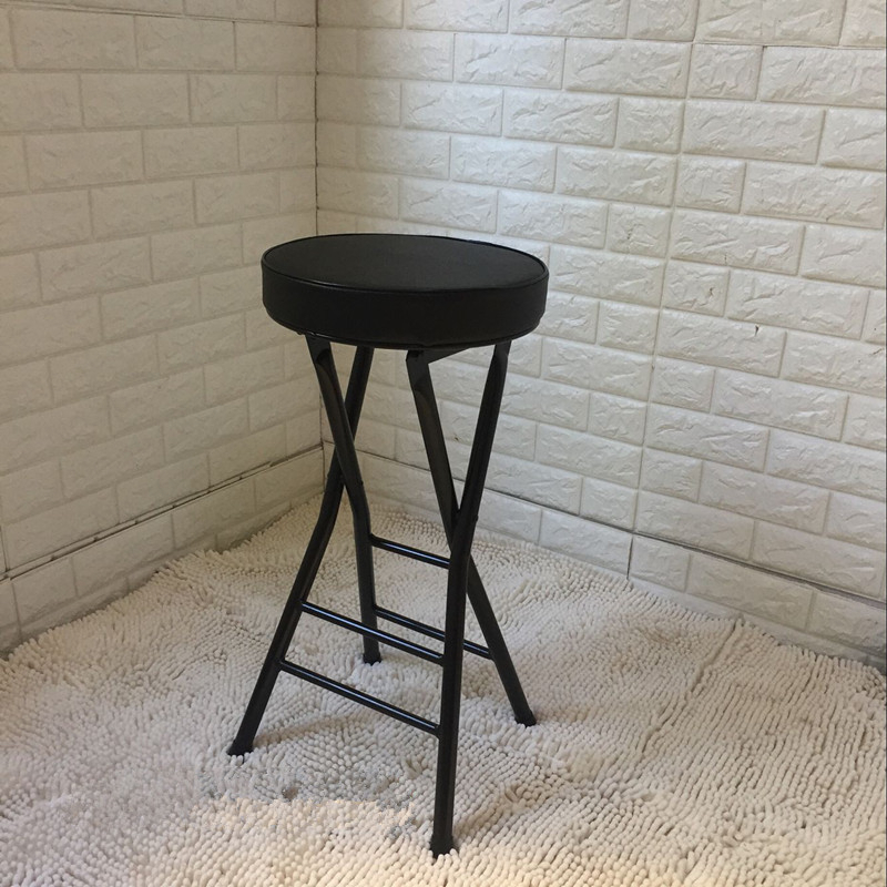 High Bar Stool Fishing Folding  High Counter Plastic Colander Rack Stools Minimalist Modern  Counter  Metalic Chair Furniture