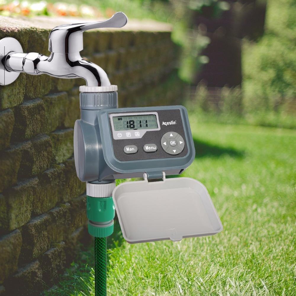 LCD Solenoid Valve Water Timer Tap Garden Irrigation Controller and Rain Sensor