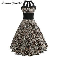 f9a2acd809 Dreamjieshi Sexy Leopard Print 2017 Summer Retro Halter Dress Women  Backless Evening Party Dresses Tunic Swing feminino vestidos