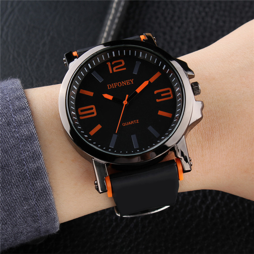 где купить Fashion Casual Mens Watches Top Brand Sports Quartz Watch Men Rubber Band Wristwatches Male Clock Relogio Masculino по лучшей цене