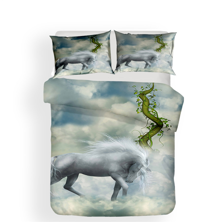 Image 2 - Bedding Set 3D Printed Duvet Cover Bed Set Unicorn Home Textiles for Adults Lifelike Bedclothes with Pillowcase #DJS09-in Bedding Sets from Home & Garden