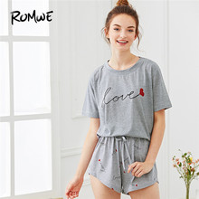 ROMWE Pajamas Women Tee   Shorts Two Piece Set Woman Clothes 2018 Summer  Female Casual Nightwear Heart Letter Print Pajama Set eaf1ace17